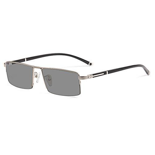 CAOXN Gafas De Lectura Fotocromáticas Multifocales Progresivas, Gafas De Sol De Alta Definición Anti-Ultravioleta UV400 Dioptrías +1.0 A +3.0,Plata,+2.00