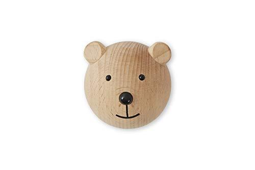OYOY, gancio da parete, appendiabiti, a forma di orso, in legno di faggio, 4,5 x 6 x 4,5 cm