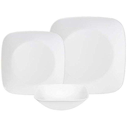 Corelle Square Pure White 18-Piece Dinnerware Set, Service for 6