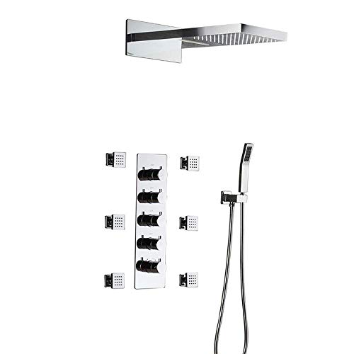 Great Features Of Gulakey Concealed Shower Four Functions with Side Spray Flying rain top Spray Copp...