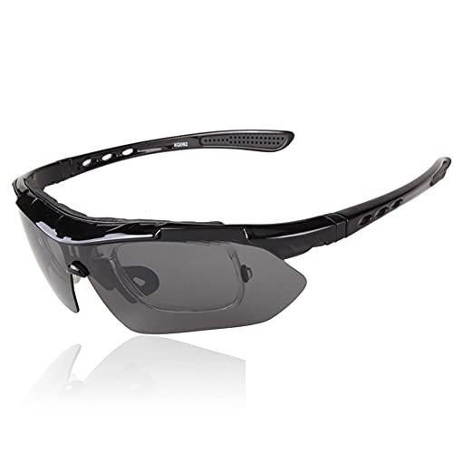 YYLI Gafas De Sol Deportivas Polarizadas, Hombre Y Mujer Gafas De Sol Deportivas con 5 Lentes Intercambiables, Caja De Protección UV 400 para Ciclismo Bicicleta Running Deportes,A