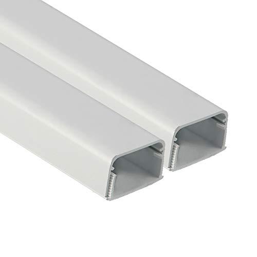 FUSIYU Canaletas para Cables [2 * 1M],Canaleta Adhesiva para Cableado en PVC Conducto de Cables y Líneas Canal de Zócalo Blanco,Usado para Ocultar Cables Pared TV para Hogar Oficina,15x10mm