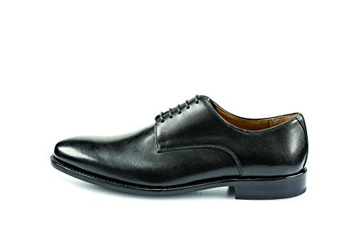 Prime Shoes - Modell Roma - (Gr. 44 - UK 9 1/2) - Schwarz Calf Black - Kalbsleder - rahmengenähte Business Schuhe Herren + 1 Lecobal Schuhbürsten Set Exklusiv - Trio II (3-teilig) - Schnürhalbschuhe