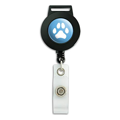 Paw Print Dog Cat White on Black Lanyard Retractable Reel Badge ID Card Holder