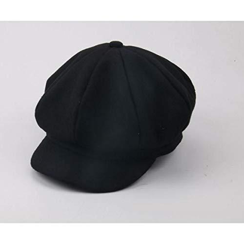 Logicstring Sombrero de Boina de Lana para Hombres y Mujeres Gorras Planas Vintage Boinas Cap Invierno al Aire Libre Cálido Casquette Sombreros , Negro