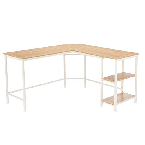 Amazon Basics L-Shape Computer Desk with Shelves for Storage, 54.3 Inch, Natural with White Frame