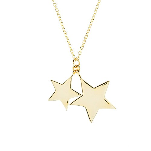 Cosmic Double Star Pendant Necklace Gold