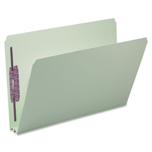 """Smead Pressboard Fastener File Folder with SafeSHIELD Fasteners, 2 Fasteners, Straight-Cut Tab, 2"""" Expansion, Legal Size, Gray/Green, 25 per Box (19910)"""