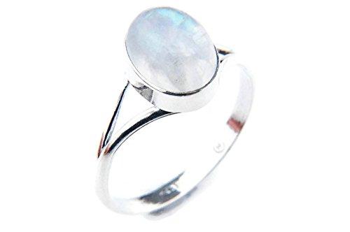 Ring Silber 925 Sterlingsilber Regenbogen Mondstein weiß Stein (Nr: MRI 92), Ringgröße:56