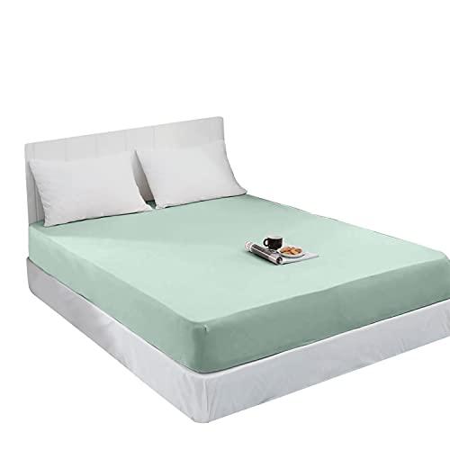 Spannbettlaken Jersey Spannbetttuch 100% Baumwolle Bettlaken Spannbettuch Laken 28 Farben, Größe:120 x 200 cm, Farbe:Hell Mint