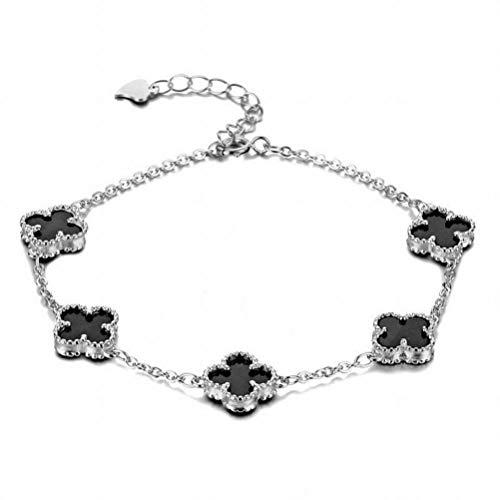 Katylen Weibliche S925 Sterling Silber Roségold Glück Vierblättriges Kleeblatt Halskette Ohrringe Armband Fußkettchen, Silver Bracelet