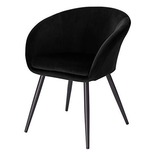 EUGAD 0625BY-1 1 Stück Esszimmerstühle Küchenstuhl Wohnzimmerstuhl Polsterstuhl mit Armlehne, Retro Design, Samt, Metall, Schwarz