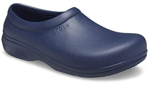 Crocs Men's and Women's On The Clock Clog | Slip Resistant Work Shoes, Navy, 13 Women / 11 Men