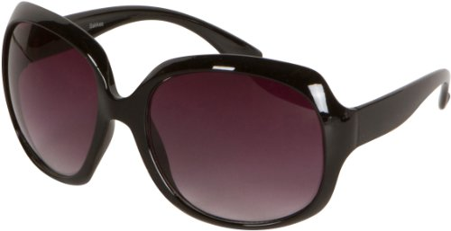 Sakkas Retro Vintage Oversized Frame Fashion Sunglasses - Schwarz/Smoke