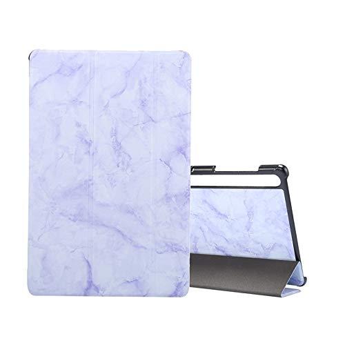HH-Phone - Funda para Samsung Galaxy Tab S7 T870, diseño de textura de mármol con tapa horizontal, con tres soportes plegables y hangma para dormir/despertar (color morado)