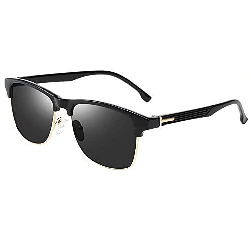 Secuos Moda Gafas De Sol Unisex De Una Pieza para Hombre, Gafas Cuadradas Clásicas, Accesorios para Exteriores, para Hombre, Goldgreylens