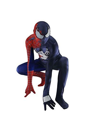 Deluxe Media Spider-Man Venom Cosplay disfraces, superhéroe Body Spandex Leche Silk Silk Skut Shour Rendimiento de Halloween Jumpsuits Christmas Movie Fans Adultos Fiesta de los niños Props,Kids L