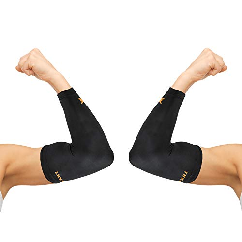 Thx4COPPER Elbow Compression Sleeve(1 Pair) - #1 Copper Infused Support –Guaranteed Recovery Copper Elbow Brace-Idea for Workouts, Sports, Golfers, Tennis Elbow, Arthritis, Tendonitis-X-Large