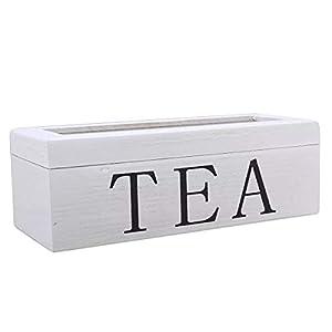 KUNSE Tea Bag Stores Boîte À Thé en Bois 3 Compartments Hinged Verre Lid Tea Organizer Jewelery Box Stockage