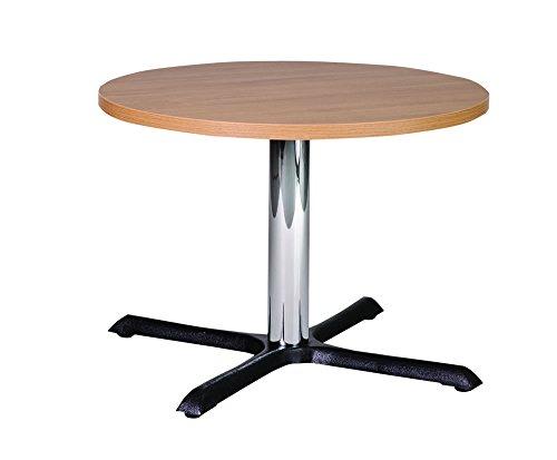 Netfurniture Roza 70cm ronde eiken kwaliteit gietijzeren salontafel met chroom kolom