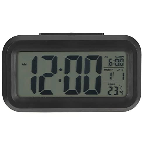 Reloj despertador digital para dormitorio, reloj despertador de cabecera con pantalla LED grande con repetición, temporizador de sueño para personas que duermen mucho, niños y adultos,12 / 24H(negro)