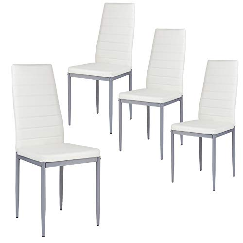 Giantex Set of 4 PU Leather Dining Side Chairs with Padded Seat Foot Cap Protection Stable Frame Heavy Duty High Back Design Dining Chairs for Kitchen Dining Room Home Furniture, White