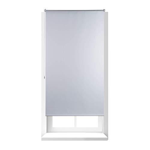 Relaxdays Estor Opaco Enrollable sin Taladrar, Tela-Aluminio, Ancho Tejido 86 cm, 90 x 160 cm, Blanco