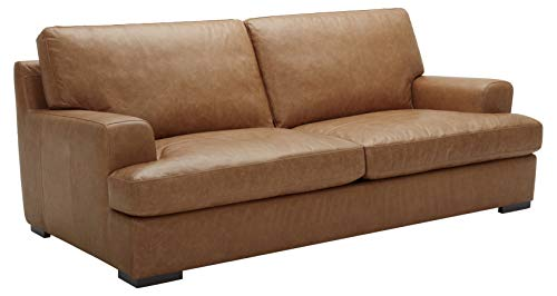 "Amazon Brand – Stone & Beam Lauren Down-Filled Oversized Leather Sofa Couch with Hardwood Frame, 89""W, Cognac"