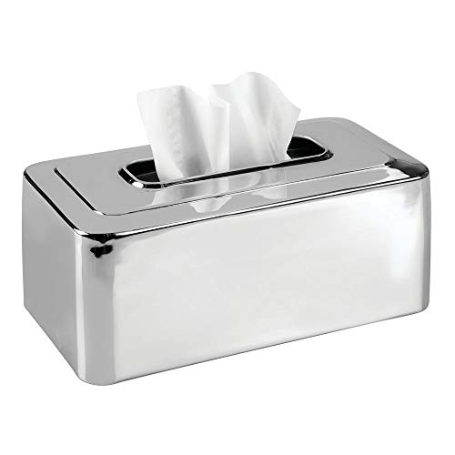 mDesign Modern Metal Tissue Box Cover for Disposable Paper Facial Tissues, Rectangular Holder for...