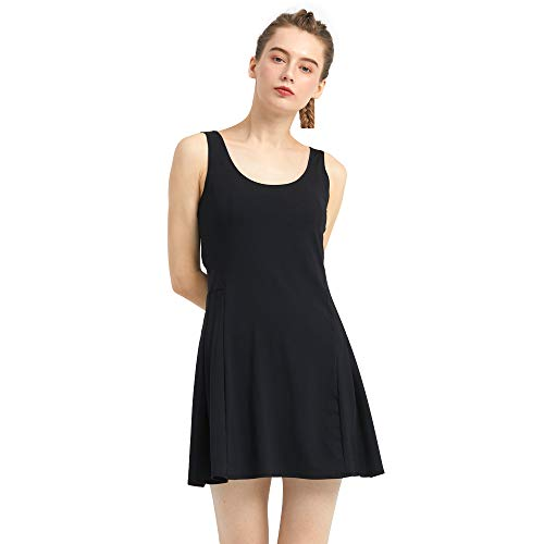 PCGAGA Women's 2 in 1 Tennis Dress Sleeveless Golf Running Workout Dresses with Pocket Shorts Breathable and Quick-Drying (Black with Shorts, S)