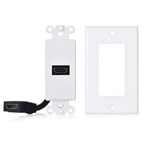 Cable Matters 2-Pack 1-Port HDMI Wall Plate in White (4K UHD, ARC, and Ethernet pass-thru support)