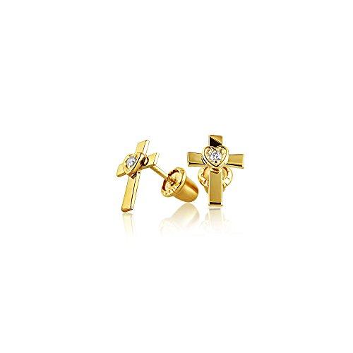Pequeño Corazón Cristiano Cruz Minimalista Pendiente De Boton Transversal Para Mujer Adolescente CZ 14K Gold Real