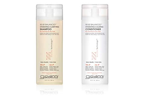 GIOVANNI 50:50 Balanced Hydrating Clarifying Shampoo & Calming Conditioner Set, 8.5 oz. Clean & Moisturize, For Over-Processed, Environmentally Stressed Hair, Sulfate Free, No Parabens, Color Safe