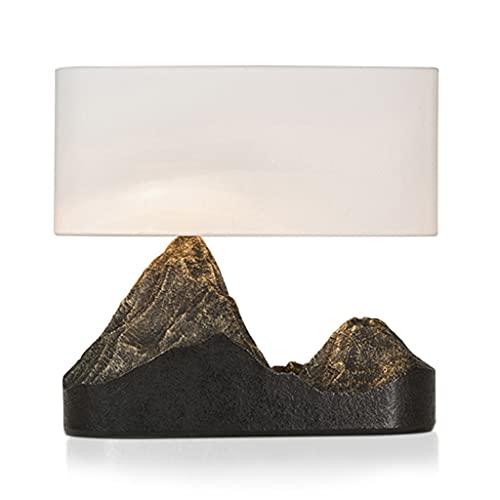 WZHZJ Lámpara de Mesa de Estilo Chino Zen con Forma de montaña Arte Decorativo lámpara de Noche Dormitorio Resina cálido Poste Moderno Estudio lámpara de Mesa