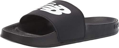 New Balance Women's 200 V1 Slide Sandal, Black/White, 10 M US