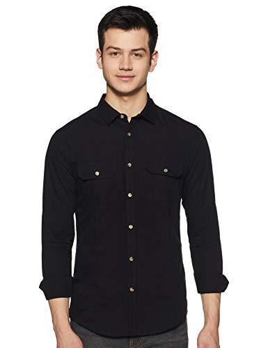 Amazon Brand - Inkast Denim Co. Men's Solid Slim Casual Shirts (SS20-IN-SR-DP_Black...