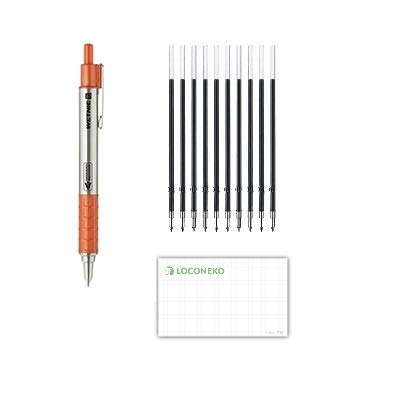 ゼブラ 加圧式ボールペン WETNIEウエットニー 黒インク 0.7mm P-BA100-OR オレンジ+替え芯K-0.7黒10本セット