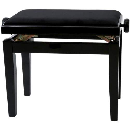 Gewa Piano Bench Deluxe Black High Gloss, Black Seat