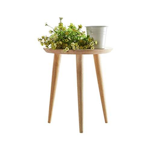 TLMY Mesa auxiliar pequeña redonda de café, moderna, minimalista nórdico, sofá esquinero, balcón, mesita de noche, mesa plegable de madera, tamaño 40 x 46 cm