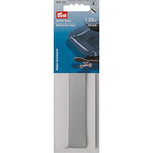Prym Reflex-Band 20 mm selbstklebend, 65% PES 35% CO, silberfarbig