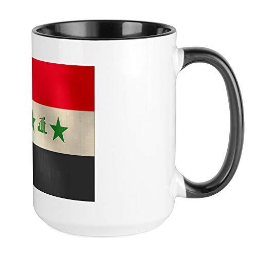 CafePress Tasse mit irakischer Flagge, groß, 425 ml Kaffeetasse, Weiß Large White/Black Inside