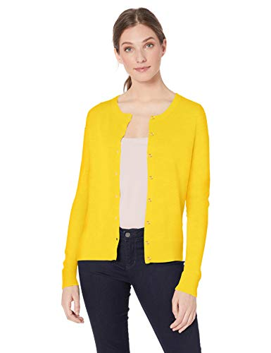 Amazon Essentials Women's Lightweight Crewneck Cardigan Sweater, Yellow, Large