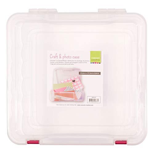 Vaessen Creative Aufbewahrungsbox für Scrapbook-Papier, Fotos und Weiteres Bastelpapier, Aufbewahrungsdose aus Kunststoff zum Einfachen Transportieren und Verstauen, 35,6 x 37,5 x 8,6 cm