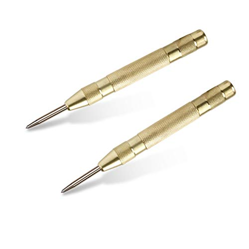 2 Pack Automatic Center Punch, Pamiso 5.1 Inch Spring Loaded Drill Punch Tool,Brass Window Spring Punch Tool, Fixed Point & Car Window Glasses Break