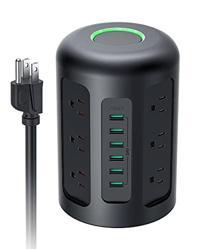 Regleta multitoma vertical eléctrica con protección, 6 puertos de carga USB y 12 tomas con 2 m de cable alargado, 1500 J Surge Protección