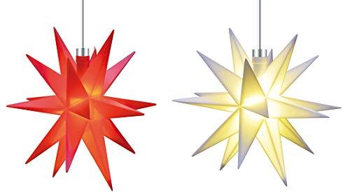 Mini Dekostern LED 2er Set Rot Weiß 18 Zack Batterie Kunststoffstern Leuchtender Stern Innen + Außen Weihnachtsdekoration