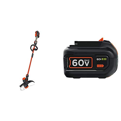 For Sale! BLACK+DECKER 60V MAX String Trimmer Kit with Extra Battery, Lithium Ion, 1.5-Ah (LST560C &...