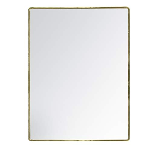 "MH London Wall Mirror I Hand Turned Metal Accent Mirrors for Hallway, Living Rooms, Bathroom I 18"" x 24"" I Salvo, Gold"