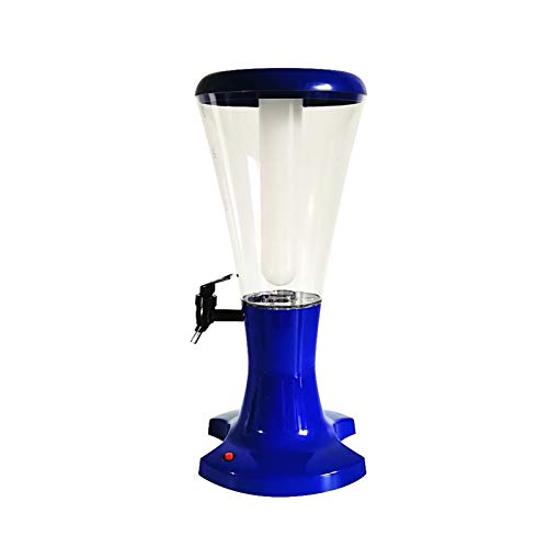 DAGCOT Dispensador de Bebidas con Luces LED, Toque y dispensador de Torre de Cerveza de Tubo de Hielo extraíble, Torre de Cerveza de Tiro frío 3L para Bar, Azul
