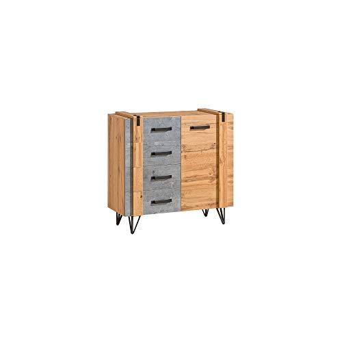 Furniture24 Kommode Lofter LO6 Schubladenschrank Mehrzweckschrank Sideboard Wohnzimerschrank 4 Schubladen 1 Tür